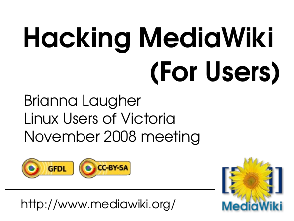 Hacking MediaWii (for users) slide