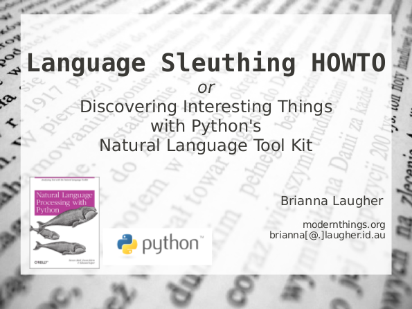Language sleuthing HOWTO slide