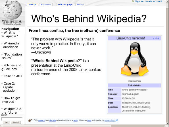 Who's behind Wikipedia? slide